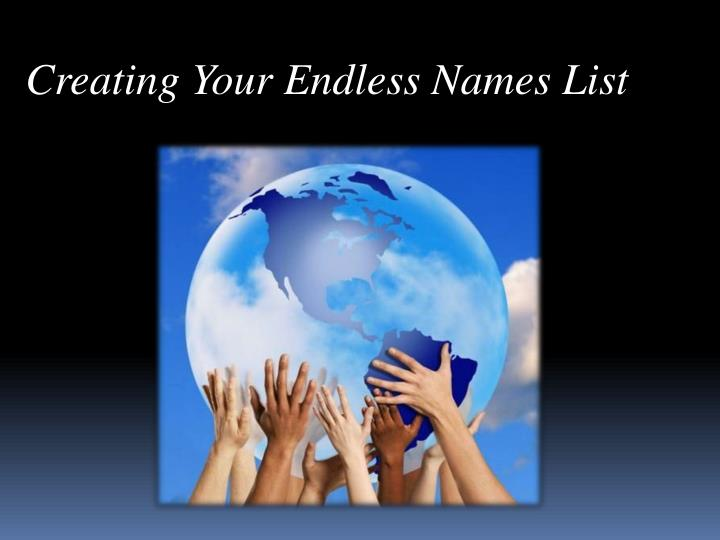 Creating Your Endless Names List