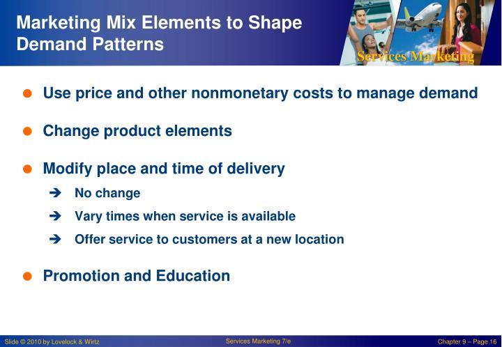 Marketing Mix Elements to Shape Demand Patterns