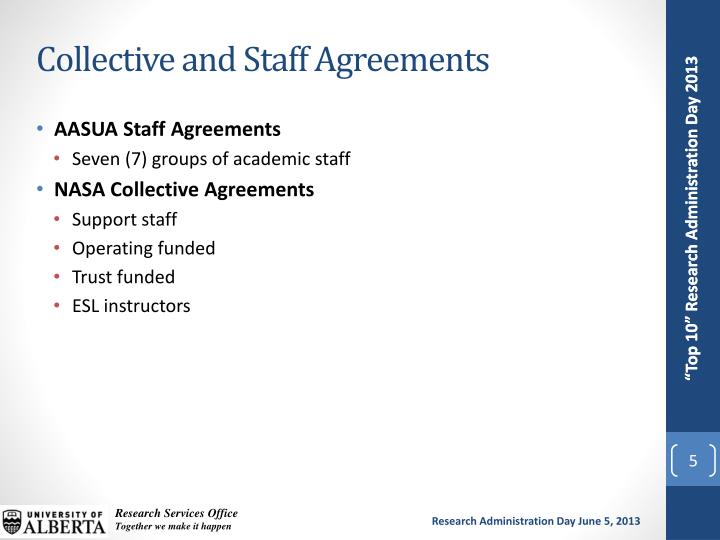Collective and Staff Agreements