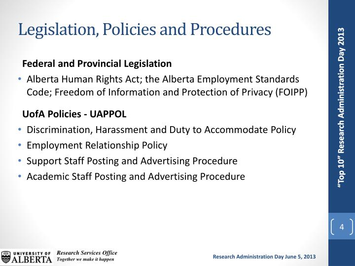 Legislation, Policies and Procedures