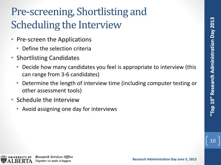 Pre-screening, Shortlisting and Scheduling the Interview