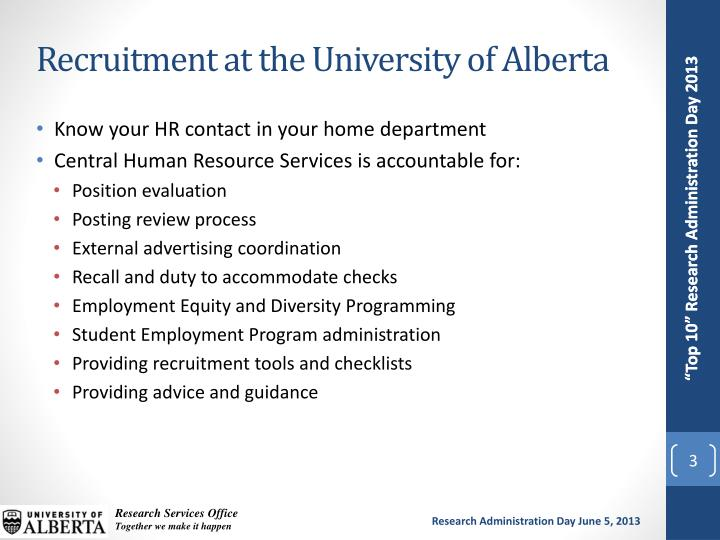 Recruitment at the University of Alberta