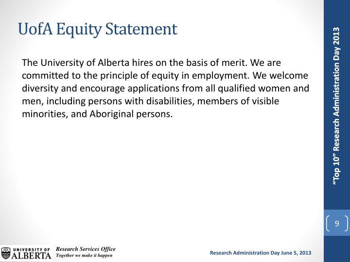 UofA Equity Statement