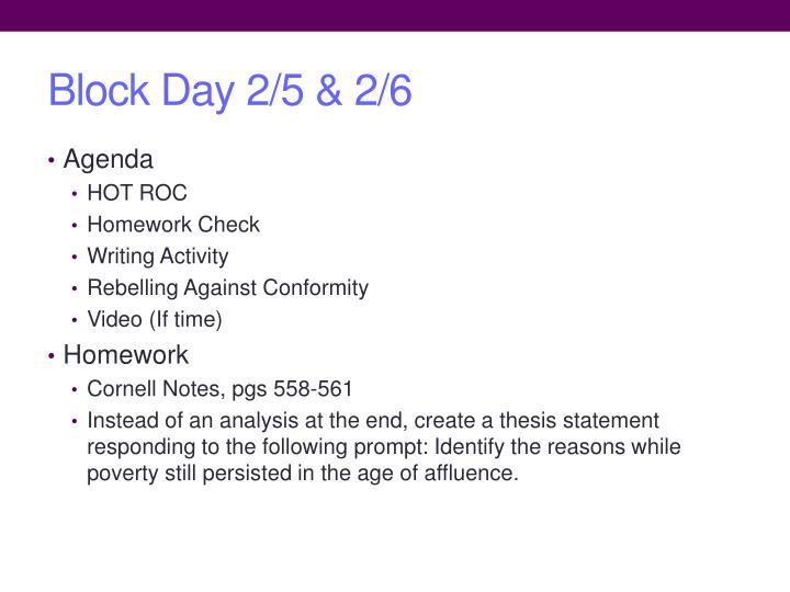 Block Day 2/5 & 2/6