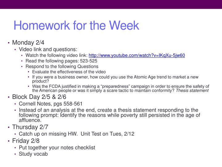 Homework for the Week