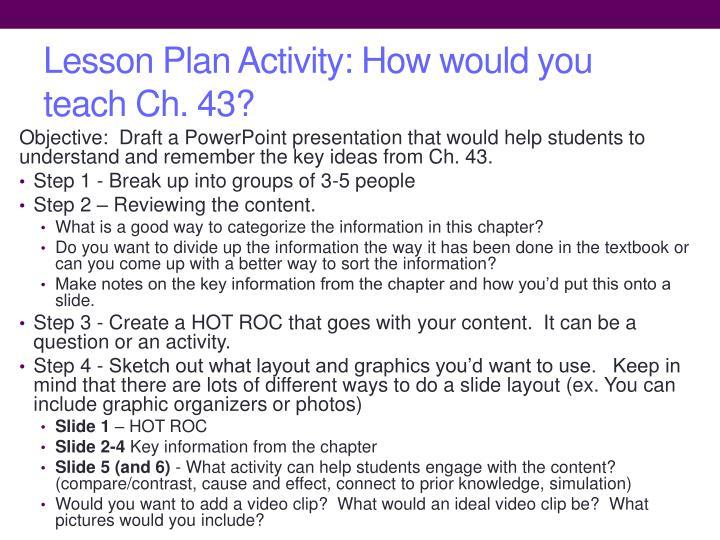 Lesson Plan Activity: