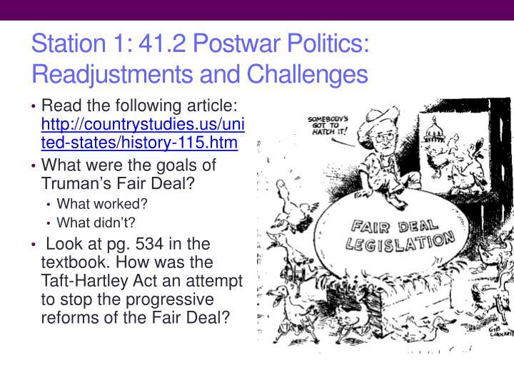 Station 1: 41.2 Postwar Politics: Readjustments and Challenges