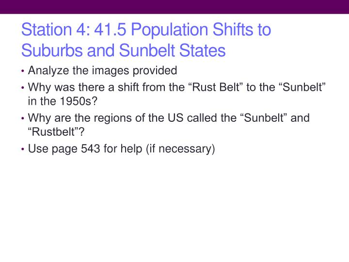 Station 4: 41.5 Population Shifts to Suburbs and Sunbelt States