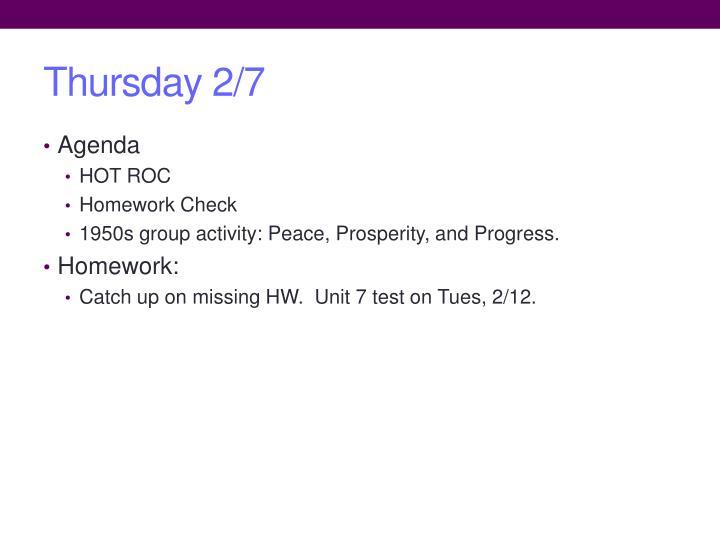 Thursday 2/7