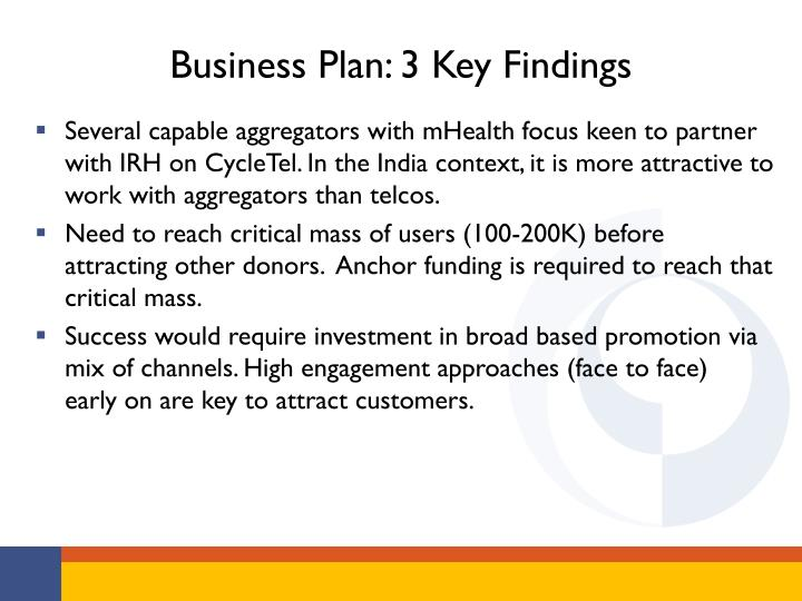 Business Plan: 3 Key Findings