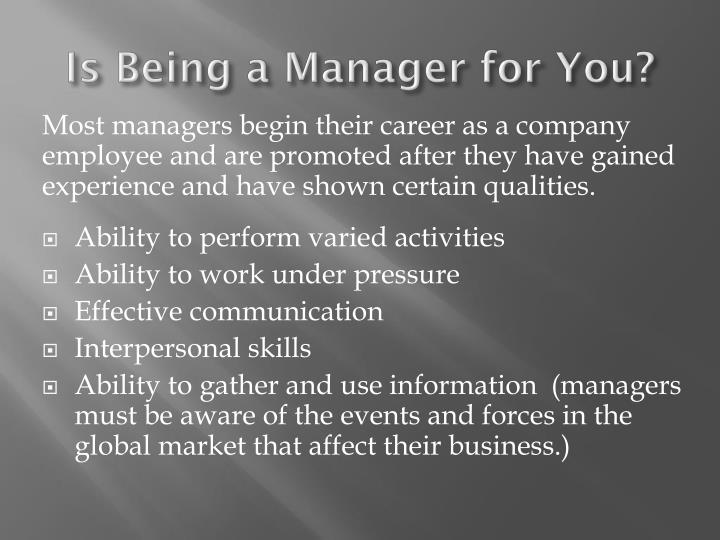 Is Being a Manager for You?