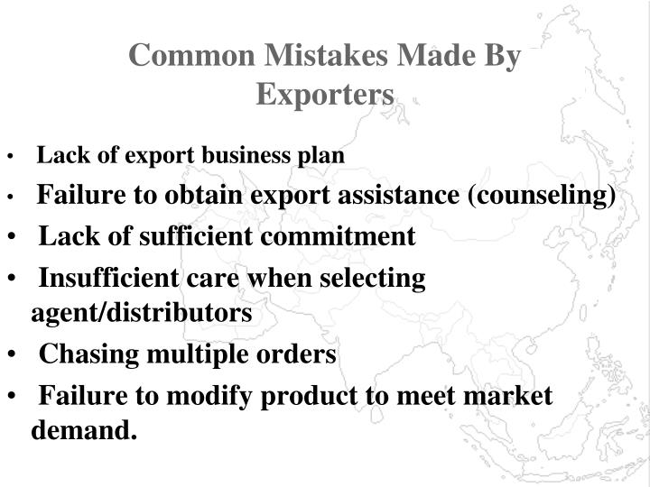 Common Mistakes Made By Exporters