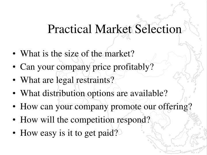 Practical Market Selection