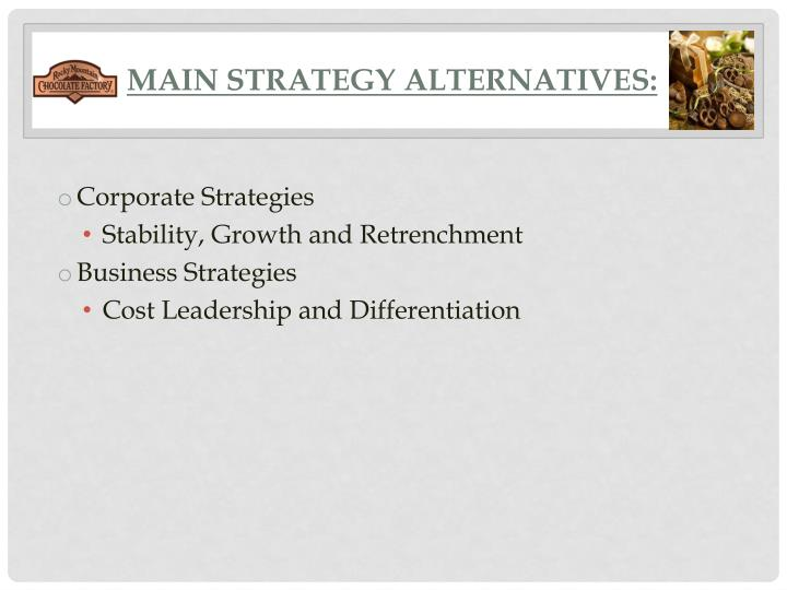 Main Strategy Alternatives:
