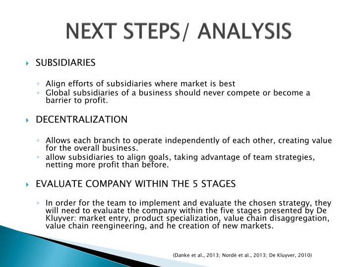 NEXT STEPS/ ANALYSIS