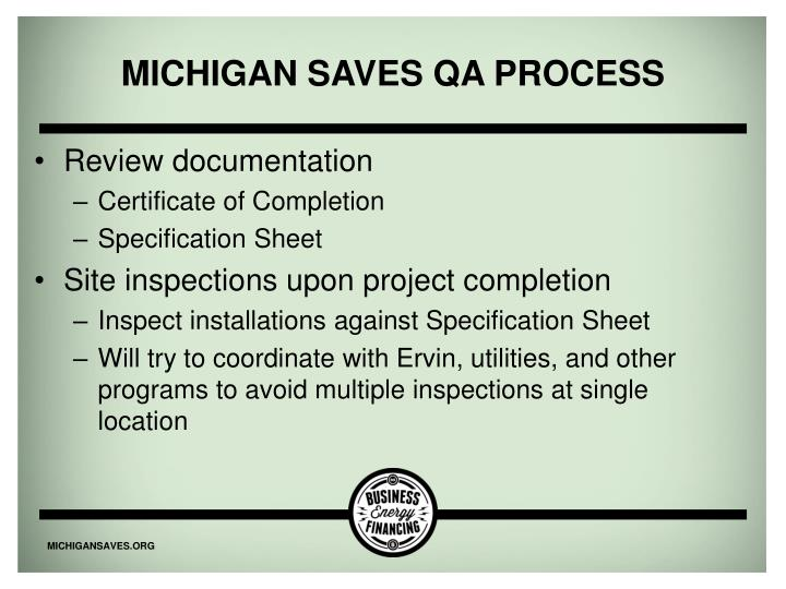 Michigan Saves QA Process
