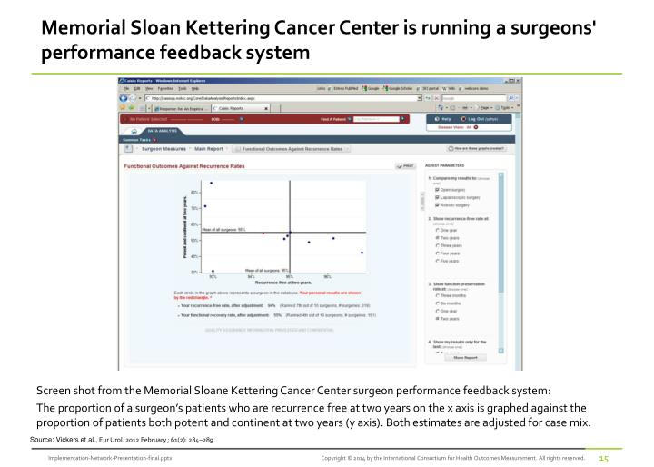 Memorial Sloan Kettering Cancer Center is running a surgeons' performance feedback system