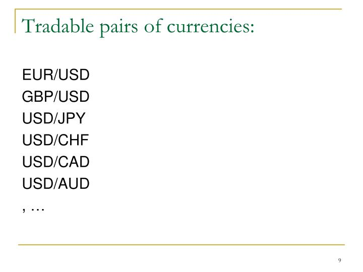 Tradable pairs of currencies:
