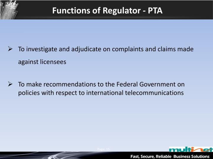 Functions of Regulator - PTA