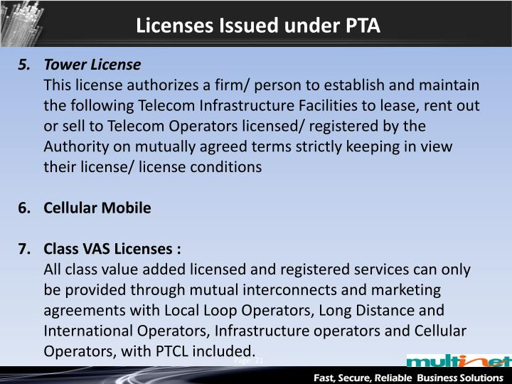 Licenses Issued under PTA