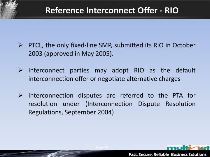 Reference Interconnect Offer - RIO