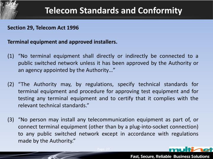 Telecom Standards and Conformity