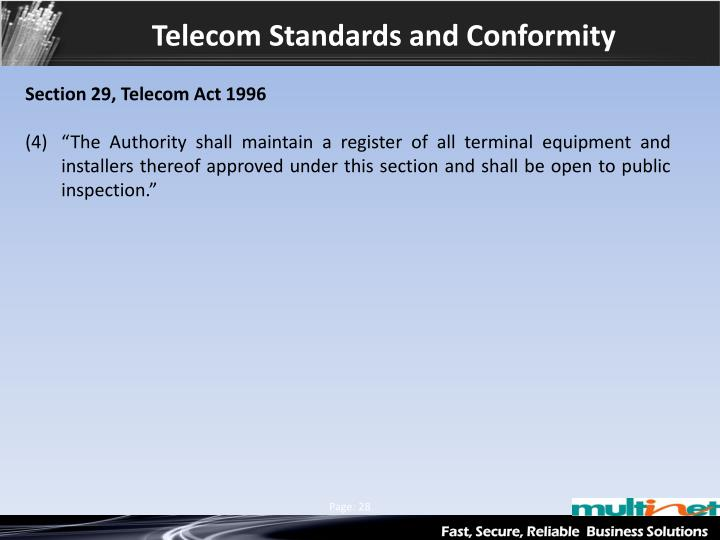 Telecom Standards and Conformity