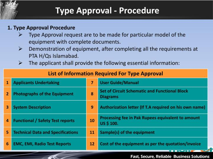Type Approval - Procedure