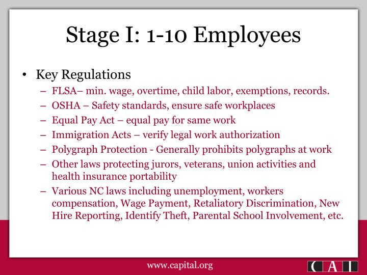 Stage I: 1-10 Employees