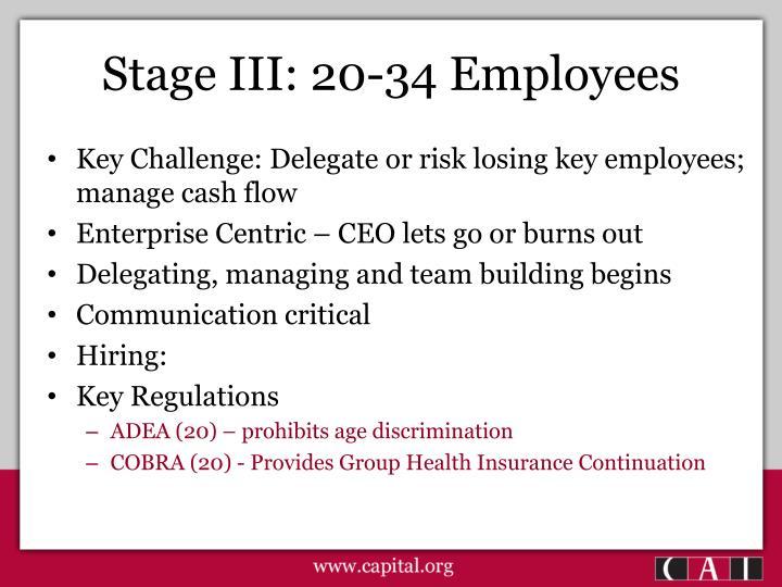 Stage III: 20-34 Employees