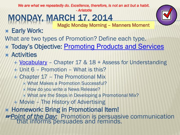 Monday march 17 2014