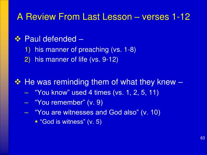 A Review From Last Lesson – verses 1-12
