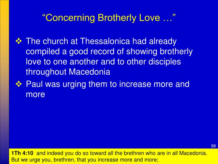 """""""Concerning Brotherly Love …"""""""
