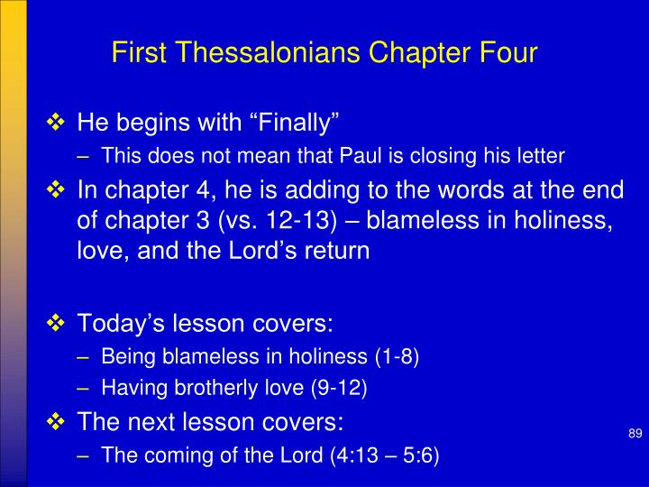 First Thessalonians Chapter Four