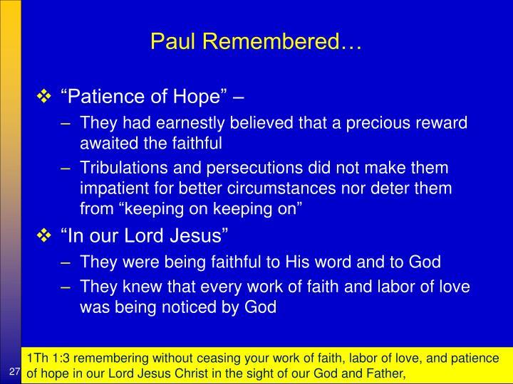 Paul Remembered…