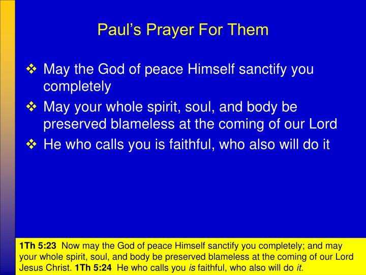 Paul's Prayer For Them