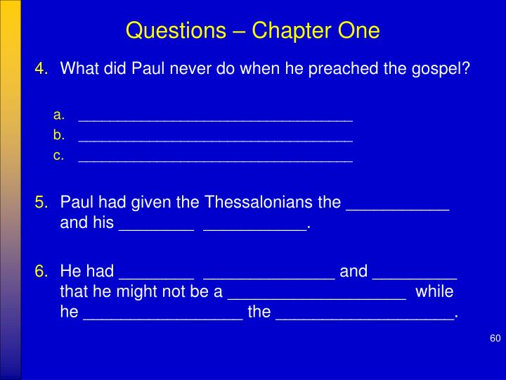 Questions – Chapter One