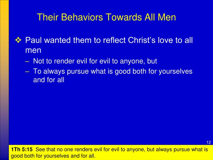 Their Behaviors Towards All Men