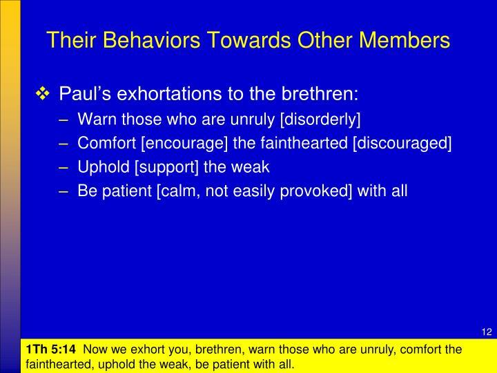 Their Behaviors Towards Other Members