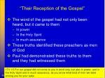 their reception of the gospel