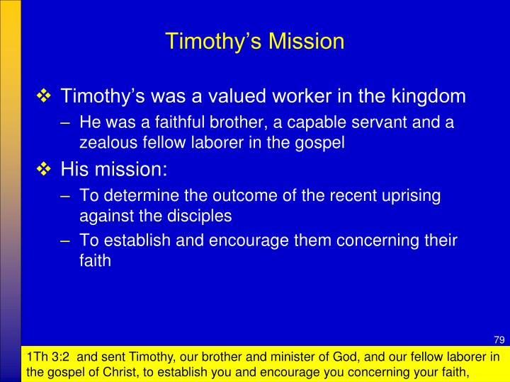 Timothy's Mission