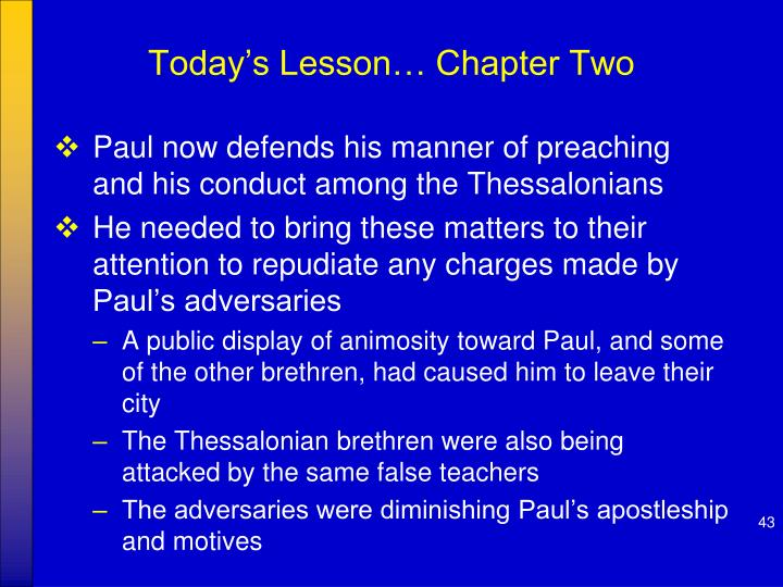 Today's Lesson… Chapter Two