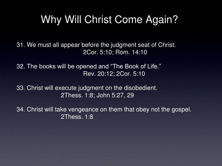 Why Will Christ Come Again?
