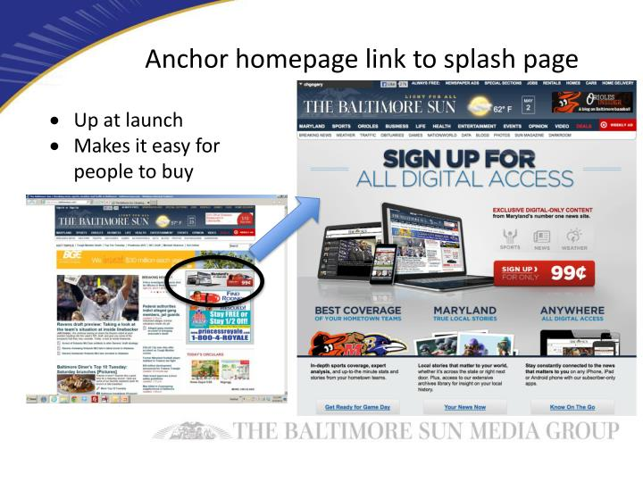 Anchor homepage link to splash page