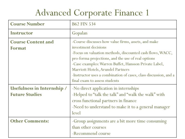 Advanced Corporate Finance 1