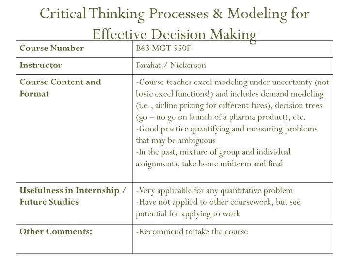 Critical Thinking Processes & Modeling for Effective Decision Making