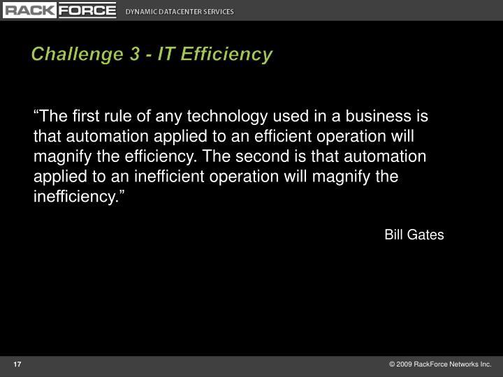 Challenge 3 - IT Efficiency