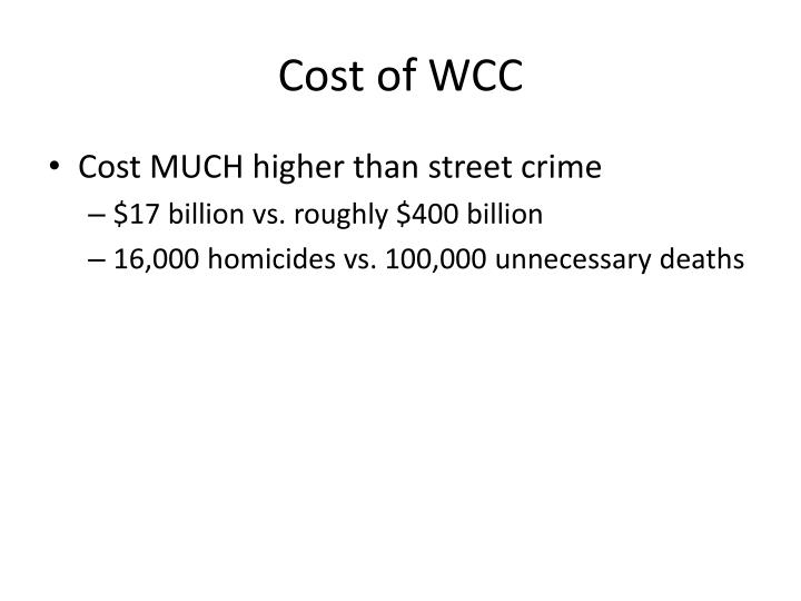 Cost of WCC