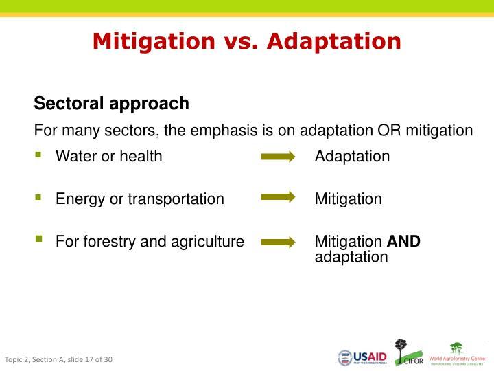 Mitigation vs. Adaptation