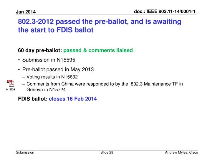 802.3-2012 passed the pre-ballot, and is awaiting  the start to FDIS ballot